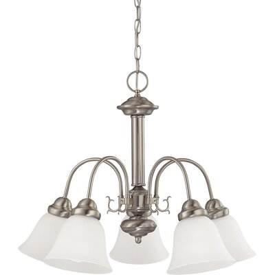 Gurney 5-Light LED Shaded Chandelier Finish: Brushed Nickel