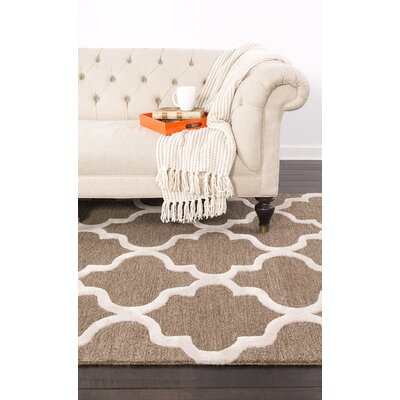 Felix Hand-Tufted Wool Beige/Brown Area Rug Rug Size: 8 X 8