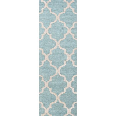 Felix Hand-Tufted Wool Blue/Ivory Area Rug Rug Size: Runner 26 x 10