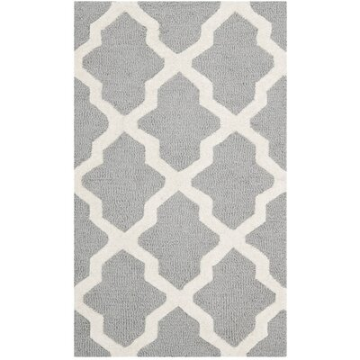 Sugar Pine Hand-Tufted Silver/Ivory Area Rug Rug Size: 26 x 4