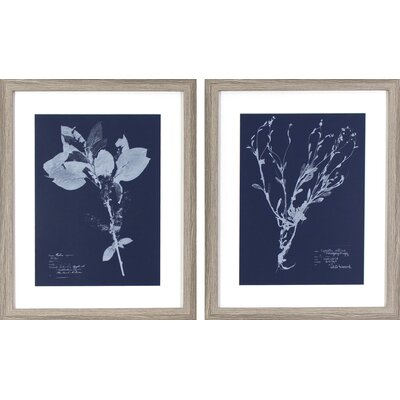 Flower Blueprints 2 Piece Framed Graphic Art Set