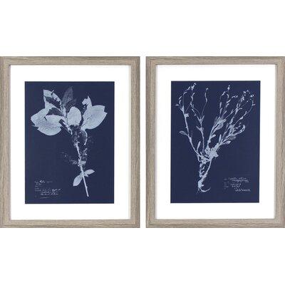 Flower Blueprints 2 Piece Framed Graphic Art Set