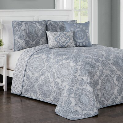 Fillmore 5 Piece Quilt Set Color: Blue, Size: Queen
