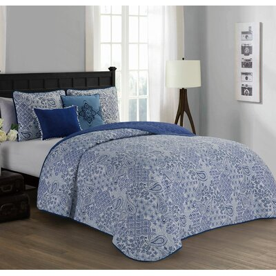 Filbert 5 Piece Quilt Set Size: King, Color: Blue