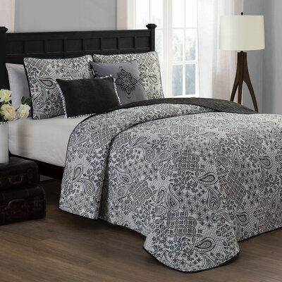 Filbert 5 Piece Quilt Set Size: King, Color: Charcoal