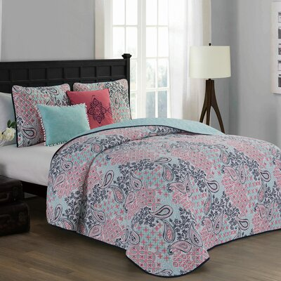Filbert 5 Piece Quilt Set Color: Pink, Size: Queen