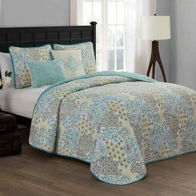Filbert 5 Piece Quilt Set Color: Teal, Size: Queen