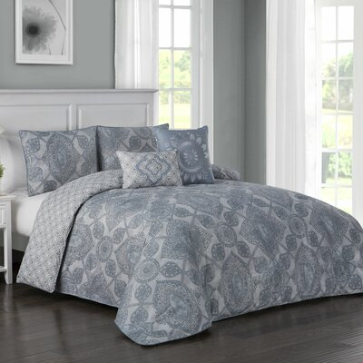 Fillmore 5 Piece Reversible Comforter Set Color: Blue, Size: King