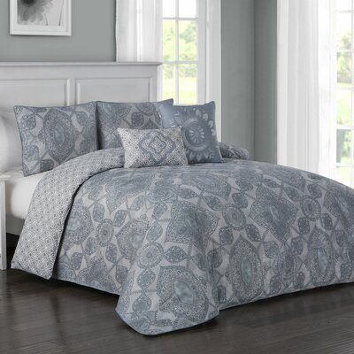 Fillmore 5 Piece Reversible Duvet Cover Set Color: Blue, Size: Queen