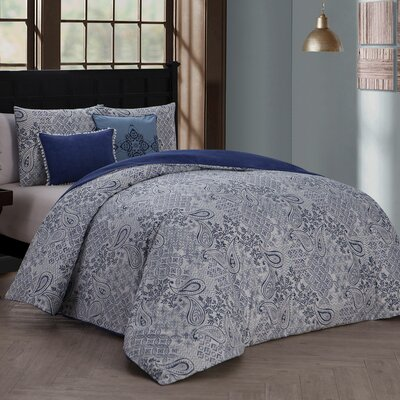 Chesapeake 5 Piece Reversible Duvet Cover Set Color: Blue, Size: Queen