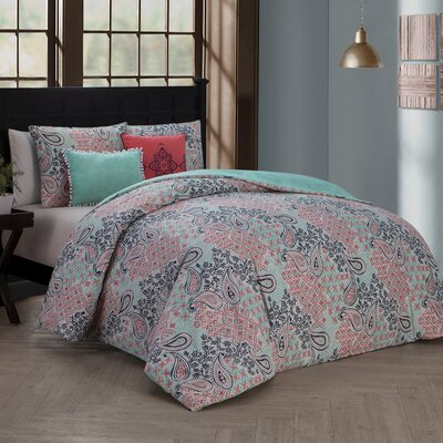 Chesapeake 5 Piece Reversible Duvet Cover Set Size: King, Color: Pink
