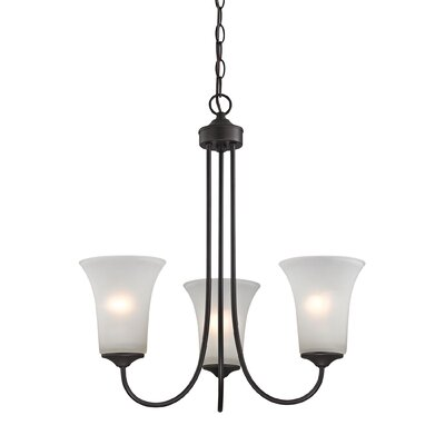 Haskins 3-Light Shaded Chandelier Finish: Oil Rubbed Bronze