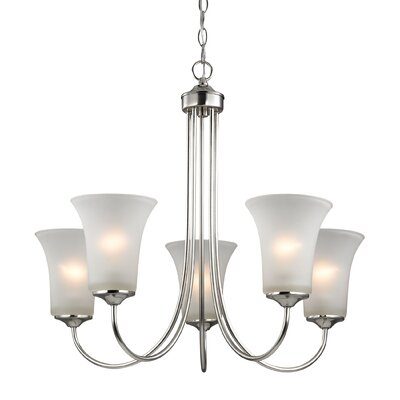Haskins 5-Light Shaded Chandelier Finish: Brushed Nickel
