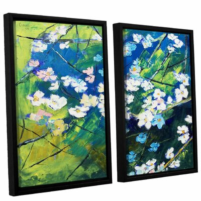 Cherry Blossom 2 Piece Framed Painting Print on Canvas Set
