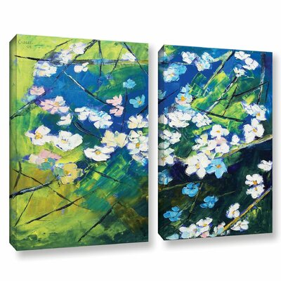 'Cherry Blossom' by Michael Creese 2 Piece Painting Print on Wrapped Canvas Set