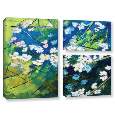 Cherry Blossom 3 Piece Painting Print on Wrapped Canvas Set