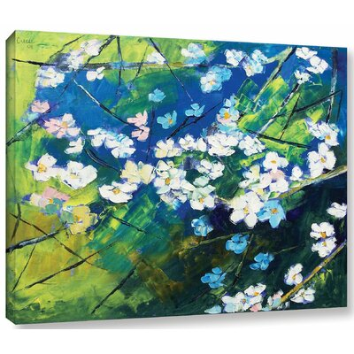 Cherry Blossom Painting Print on Wrapped Canvas