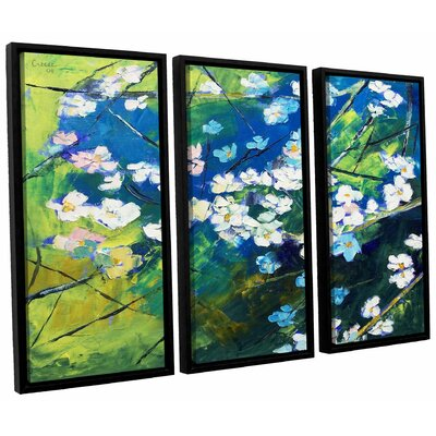 Cherry Blossom 3 Piece Framed Painting Print on Canvas Set