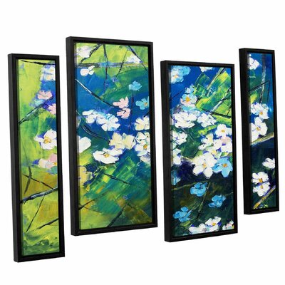Cherry Blossom 4 Piece Framed Painting Print on Canvas Set Size: 24