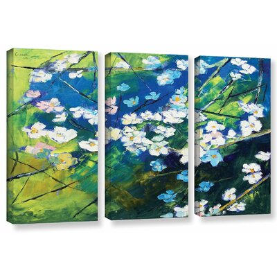 'Cherry Blossom' by Michael Creese 3 Piece Painting Print on Wrapped Canvas Set