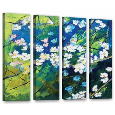 Cherry Blossom 4 Piece Painting Print on Wrapped Canvas Set
