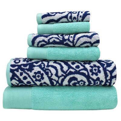 Libby 6 Piece Superior Combed Cotton Towel Set Color: Denim / Aqua