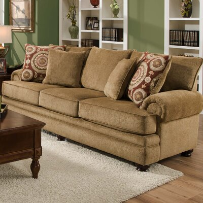 Westerville Twill Sofa Upholstery: Golden Brown With Green Undertones