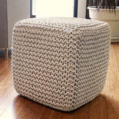 Alcott Hill Laflin Corded Jute Cube Pouf Ottoman