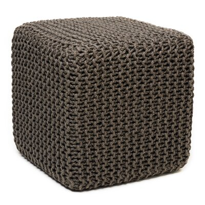 Laflin Corded Jute Cube Pouf Ottoman Upholstery: Gray