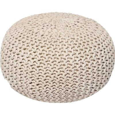 Lakemont Corded Pouf Ottoman Upholstery: Ivory/Beige