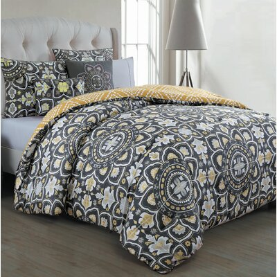 Millvale 5 Piece Duvet Cover Set Size: Full / Queen, Color: Gray / Yellow