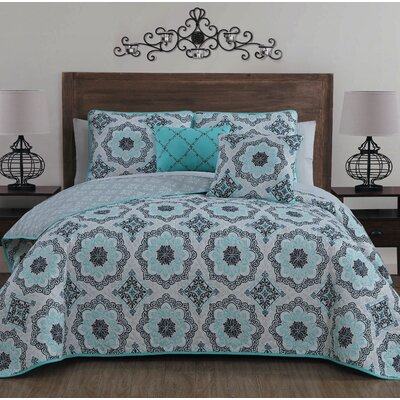 Siebert 5 Piece Reversible Quilt Set Color: Blue, Size: Queen