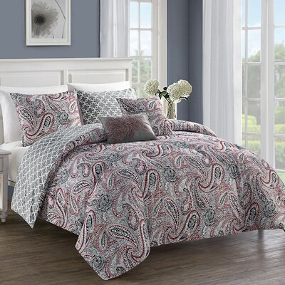 Neapolis 5 Piece Comforter Set Size: Queen, Color: Red