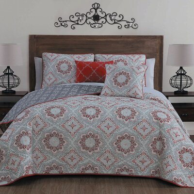 Siebert 5 Piece Reversible Quilt Set Color: Red, Size: Queen