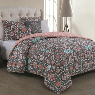 Millvale 5 Piece Duvet Cover Set Size: Full / Queen, Color: Gray / Coral