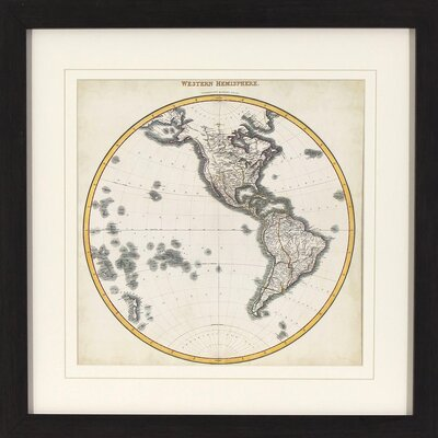 Western Hemisphere Map Framed Graphic Art