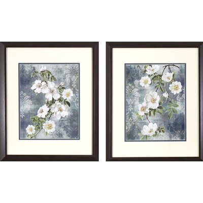 Dogwood Blossoms on Blue 2 Piece Framed Graphic Art Set