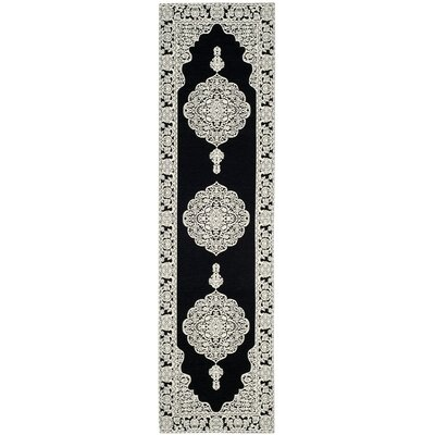 Jamison Hand-Woven Black/Ivory Area Rug Rug Size: Runner 23 x 8