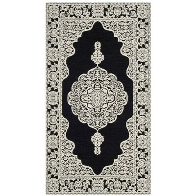 Jamison Hand-Woven Black/Ivory Area Rug Rug Size: Rectangle 2'3