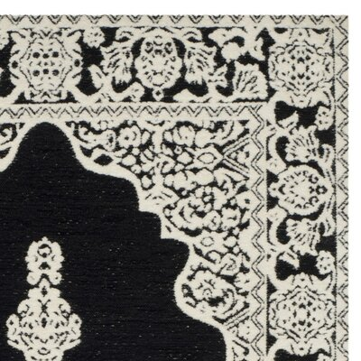 Seville Hand-Woven Black/Ivory Area Rug Rug Size: 5 x 8