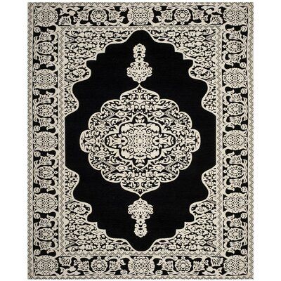 Jamison Hand-Woven Black/Ivory Area Rug Rug Size: Rectangle 8' x 10'