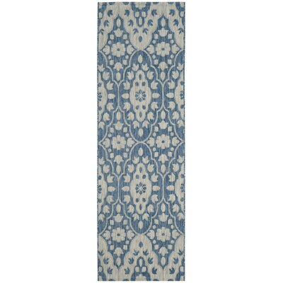 Regal Gray/Navy Area Rug Rug Size: Runner 27 x 82
