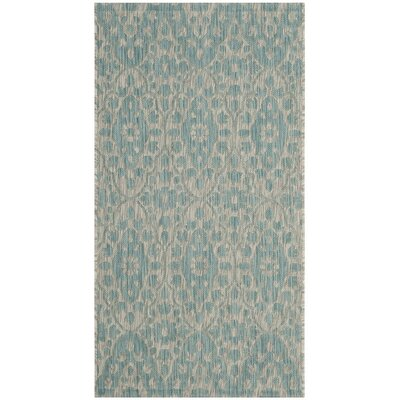 Regal Gray/Aqua Area Rug Rug Size: 27 x 5