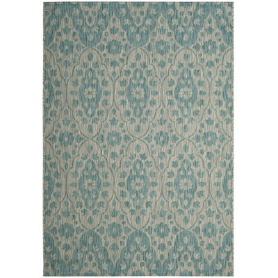 Regal Gray/Aqua Area Rug Rug Size: Rectangle 4 x 57