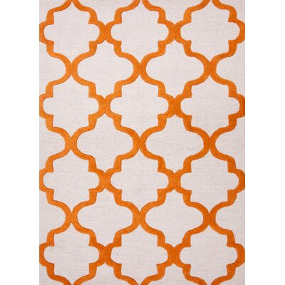 Alida Hand-Tufted Grey/Orange Area Rug Rug Size: 2 x 3