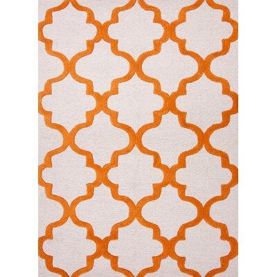 Alida Hand-Tufted Grey/Orange Area Rug Rug Size: 36 x 56