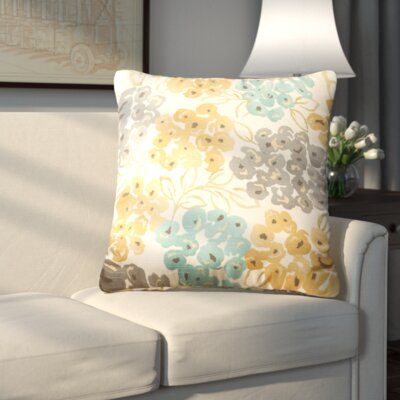 Malcolm Floral Cotton Throw Pillow Color: Pool, Size: 24.5 H x 24.5 W x 5 D
