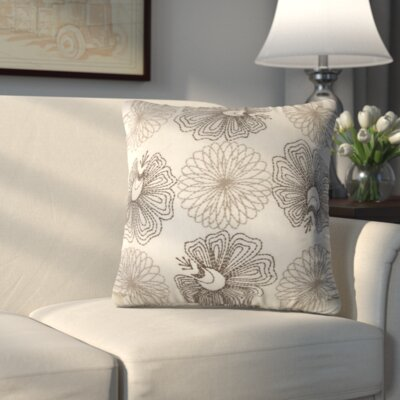 Crewe Embroidered Throw Pillow (Set of 2) Color: Cream