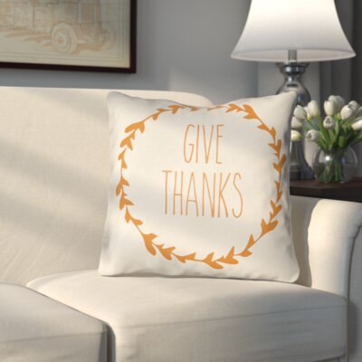 Amesville Indoor/Outdoor Throw Pillow Size: 18 H x 18 W x 4 D, Color: White/Orange