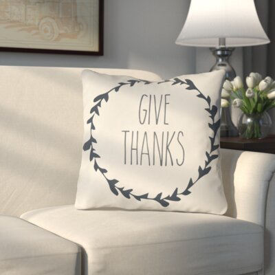 Amesville Indoor/Outdoor Throw Pillow Size: 18 H x 18 W x 4 D, Color: White/Gray